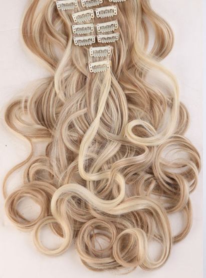 Synthetische clip in hair extension set / mix blond 16p613 / 60 cm