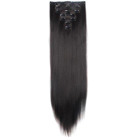 Synthetische clip in extensions set / zwart #1  / 66 cm