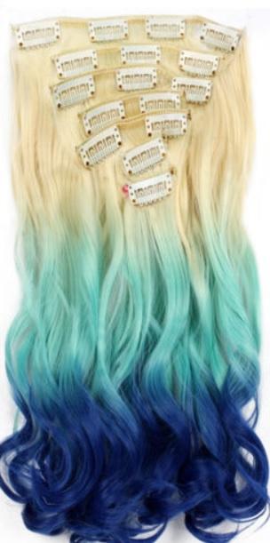 Synthetische clip in hair extension set / ombre blond - blauw - licht blauw golvend / 50 cm