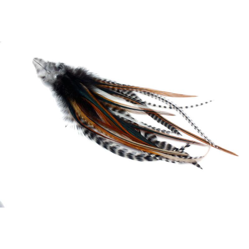Maat S: 5 natural feather extensions + 10 knijpringen / 5 natuurlijke veren extensions