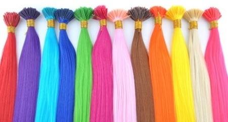 Synthetische feathers / effen regenboog kleuren / 55 cm