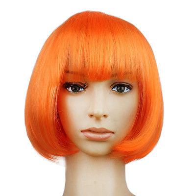 Pruik / oranje bob / 25 cm