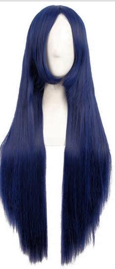 Pruik /  Zwart - blauw - midnight sea  / 80 cm
