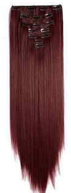 Synthetische clip in hair extensions set / Rood #110 / 60 cm