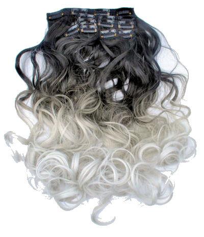 Synthetische clip in hair extension set / Ombre zwart -  zilvergrijs / 60 cm