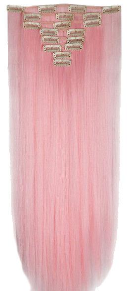 Synthetische clip in hair extension set / pastel roze / 66 cm