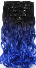 Synthetische clip in hair  extension set / ombre zwart - blauw golvend / 50 cm