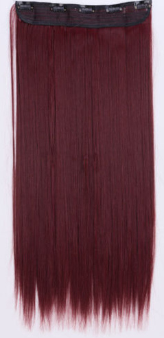 Losse clip in hair strook / rood stijl  / 60 cm