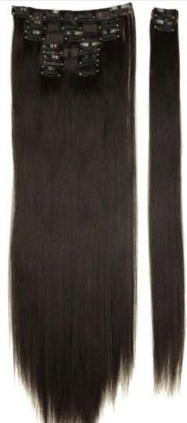 Synthetische clip in hair extension set / zwart #4A / 58 cm