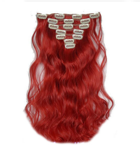 Synthetische clip in hair extension set / Rood golvend / 50 cm