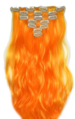 Synthetische clip in hair extension set / Oranje golvend / 50 cm