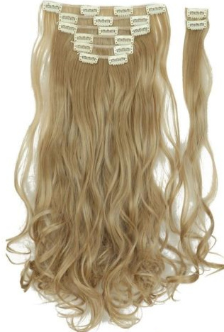 Synthetische clip in hair extensions set / Asblond 24  / 43 cm