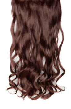 Clip in hair extensions baan / Bruin golvend #4 /  73 cm