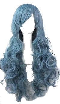 Pruik / blauw - blue sea / 65 cm
