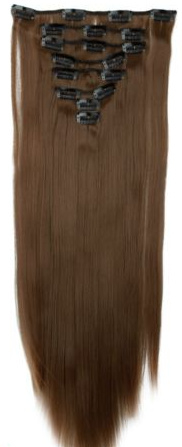 Synthetische clip in hair extension set / bruin #14 / 58 cm