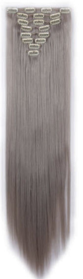 Synthetische clip in hair extension set / Licht grijs stijl /  66 cm