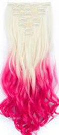 Synthetische clip in extension set / ombre blond #613 - roze / 55 cm