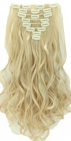 Synthetische clip in hair extensions set / Blond #24-613 / 43 cm