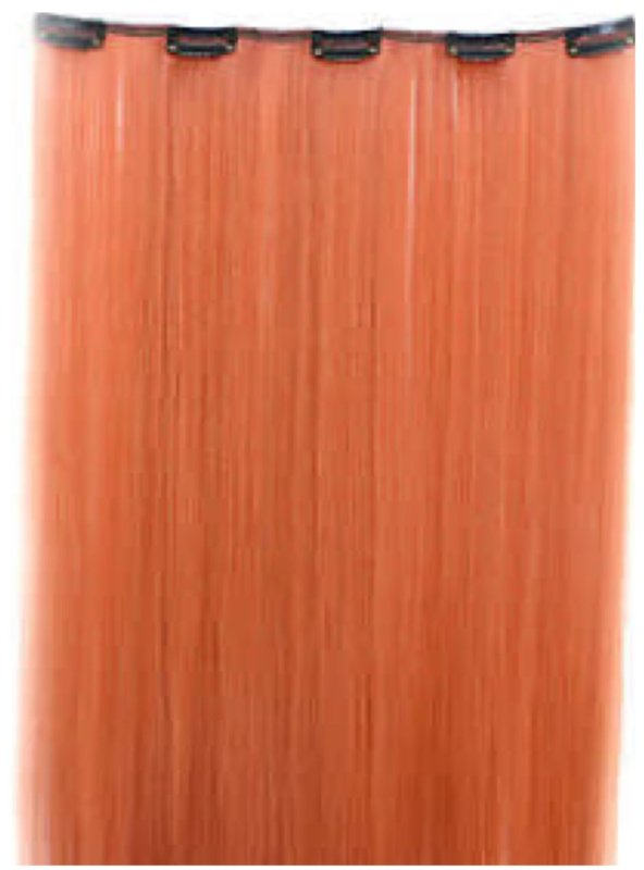Losse clip in hair extension strook / oranje / 50 cm