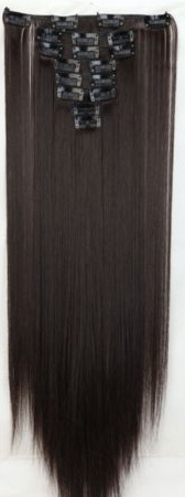Synthetische clip in hair extension set / bruin #2A / 58 cm