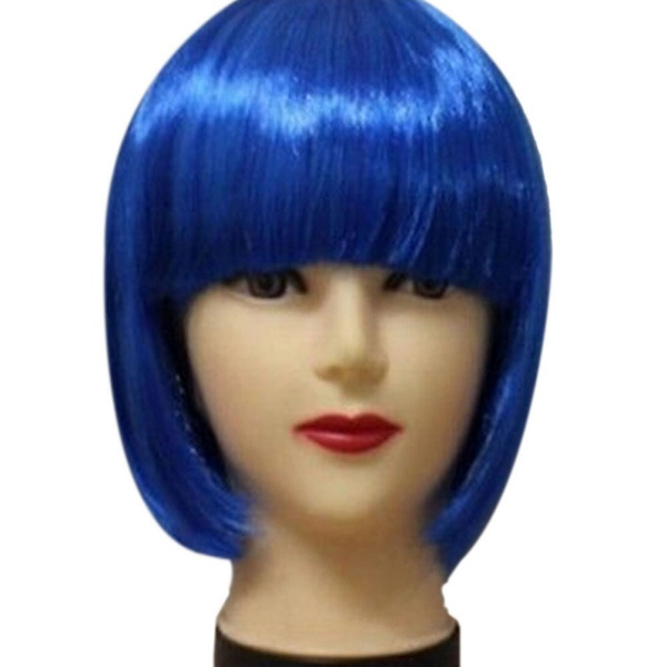 Pruik / blauw / korte bob / 25 cm