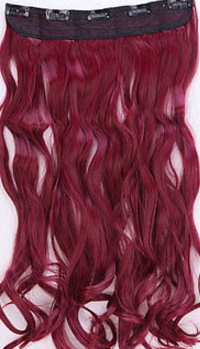Clip in hair extension strook / Rood golvend A1139 / 60 cm