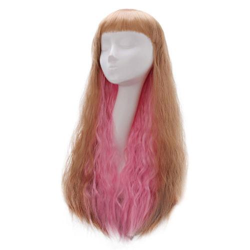 Pruik / Goud roze  lang golvend haar / 65 cm
