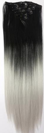 Synthetische clip in extension set / ombre zwart - grijs / 55 cm
