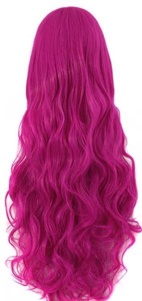 Pruik / Diep roze - Candy love  / 80 cm