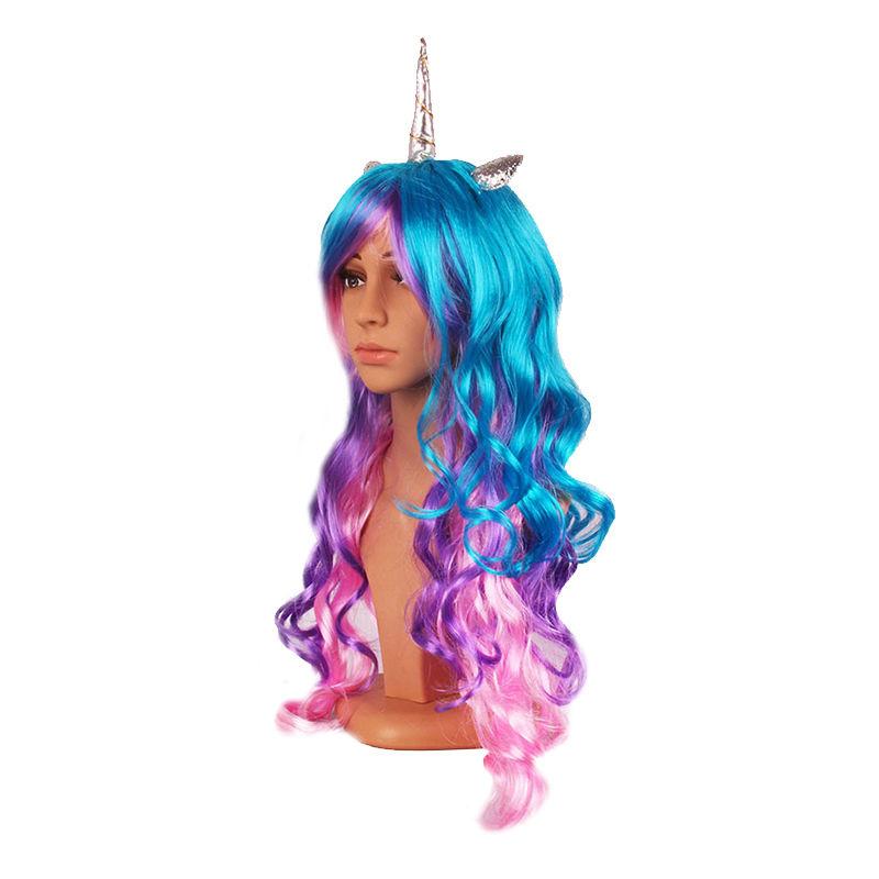 Pruik / Unicorn blauw - paars - roze / 70 cm eenhoorn
