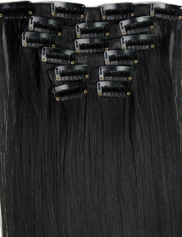 Synthetische clip in extension set / zwart - black night #1b / 55 cm