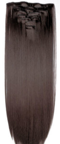 Synthetische clip in hair extension set / Donker bruin M4 / 50 cm