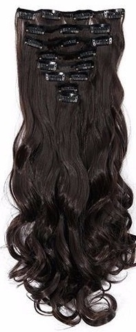 Synthetische clip in hair extensions set / Bruin  #2A / 43 cm