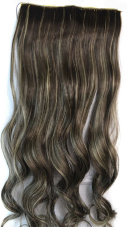 Clip in hair extension baan / mixed bruin #4/27 / 45 cm