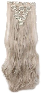 Synthetische clip in extension set / mix blond - zilver  grijs /  60 cm