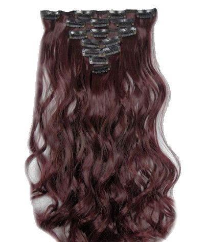 Synthetische clip in hair extension set / Donker rood golvend / 50 cm
