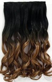Clip in hair extension strook/ Ombre #1B/27/ 55 cm