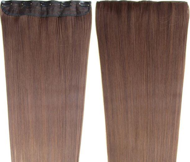 Clip in hair extension baan / bruin mixed #4-30  / 60 cm