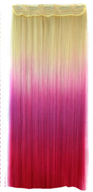 Clip in hair extensions strook / blond - roze  / 60 cm