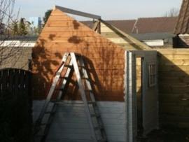 tuinhuis en schutting met poort