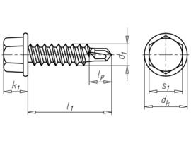 Boorschroef, zeskantkop met kraag pias 6.3x50