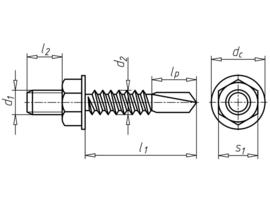 Boorschroef met zeskantkop en draadstift Varibos M8x10 6.3x25