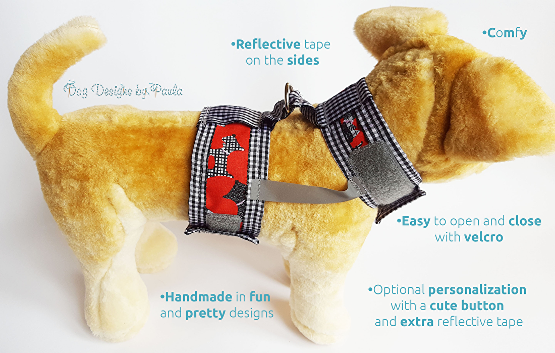 Pretty small dog harness - Dog Designs by Paula
