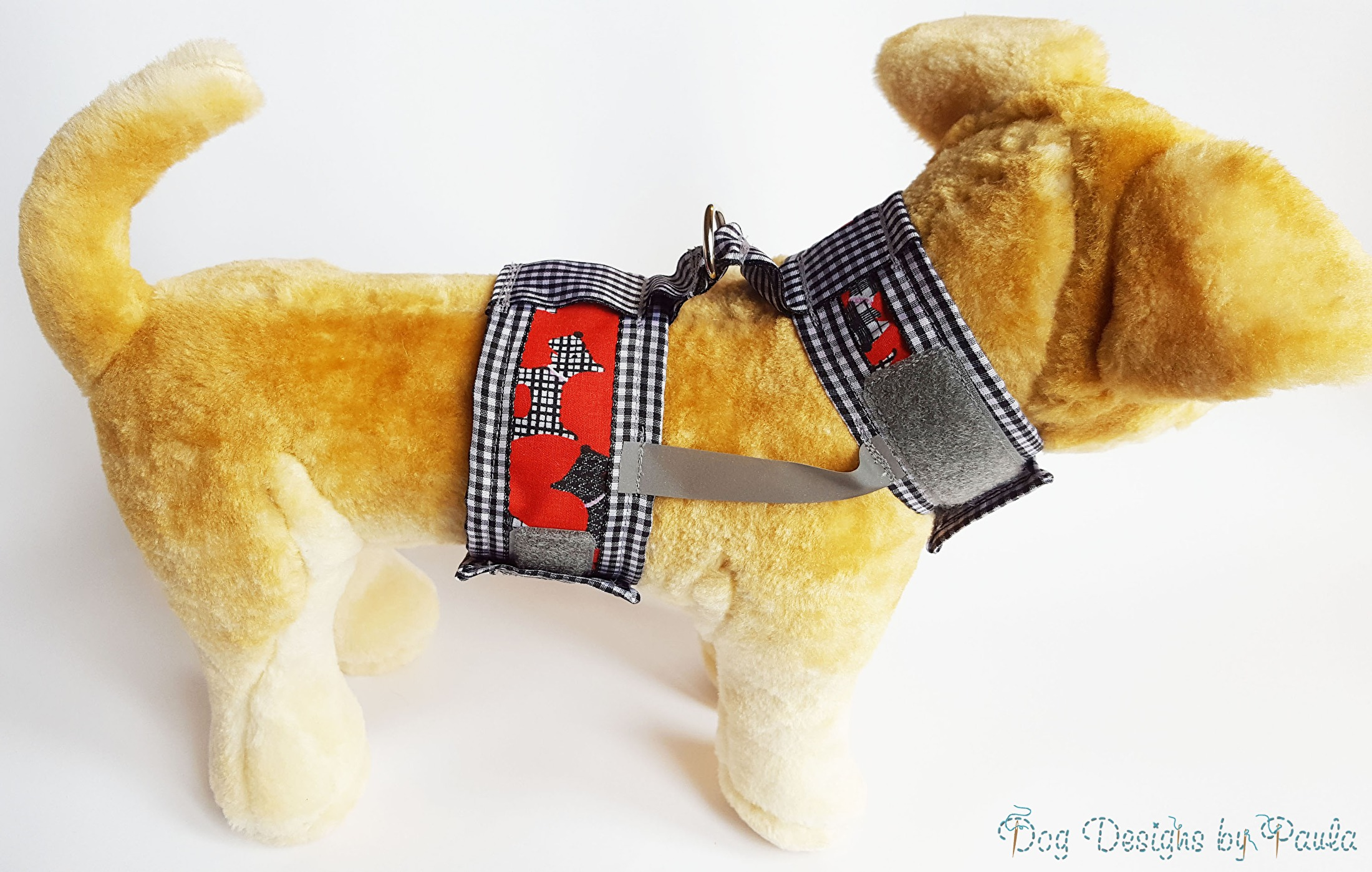 My Friends in Red small dog harness - Dog Designs by Paula