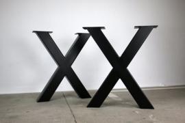 Metalen onderstel voor tafel - X - Zwart