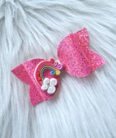 Haarstrik Regenboog roze glitter