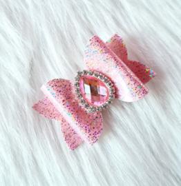 Haarstrik Glam roze/glitter