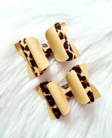 Setje van 2 haarstrikken Panter/beige