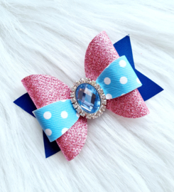 Haarstrik Maddie blauw/roze/ glitter