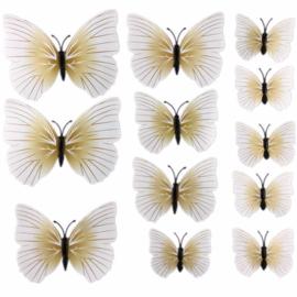 3D muurstickers Vlinder met lijfje Broken White